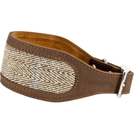 Earthbound Tweed Whippet Collar, Beige - Size Medium