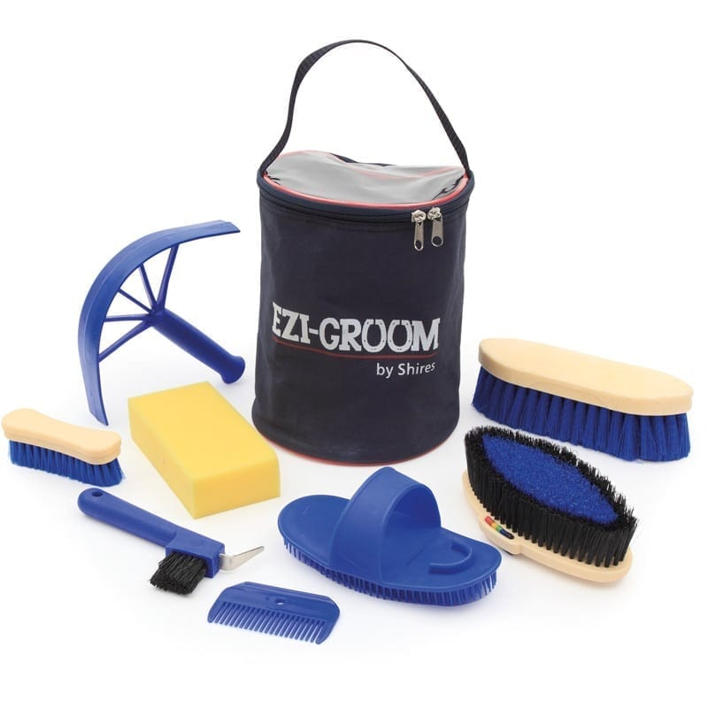Shires Adults 8 Piece Ezi-Grooming Kit, Royal Blue