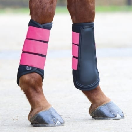 Shires Neoprene Brush Boot, Black & Pink Small Pony Size