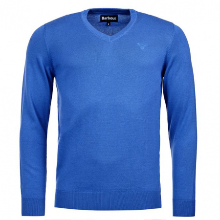 Barbour Mens Pima Cotton V-Neck Sweater, Blue Cobalt