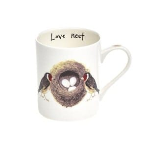 Orchid Designs Love Nest Mug. Bone China mug. At Home in the Country.