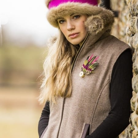 Annabel Brocks Ladies Gilet With Faux Fur Collar