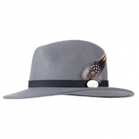 Hicks & Brown Suffolk Fedora Grey Guinea & Pheasant Feather 1 Image