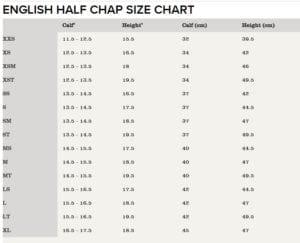 half chaps SIZE CHART