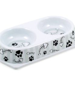 Ancol Twin Cat Bowl, Grey Stripe