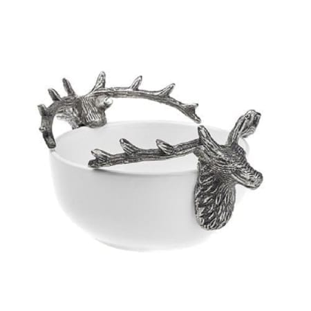 Ceramic White Bowl With Stag Handles