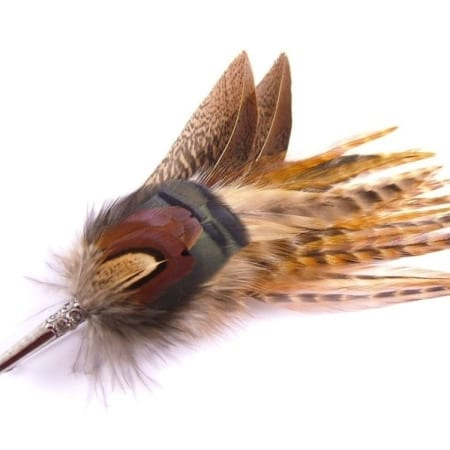 Hicks & Brown Feather Brooch/Hat Pin - Gamebird Feathers