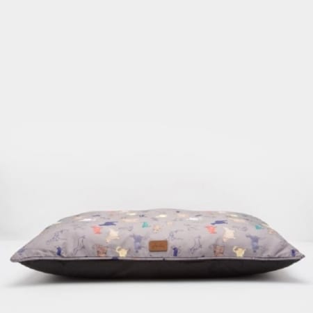 Joules Restwell Printed Pillow Pet Bed, Grey Part Tea
