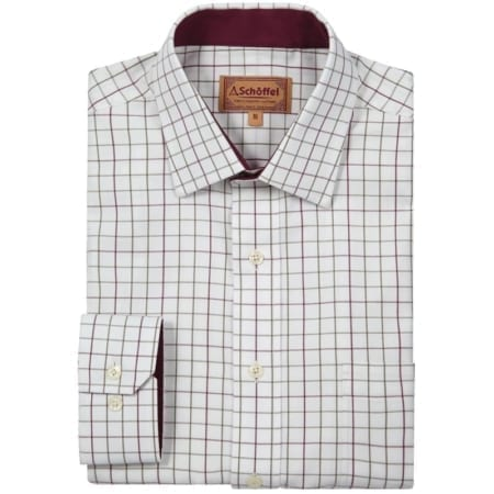 Schoffel Burnham Tattersall Shirt, Ruby Check