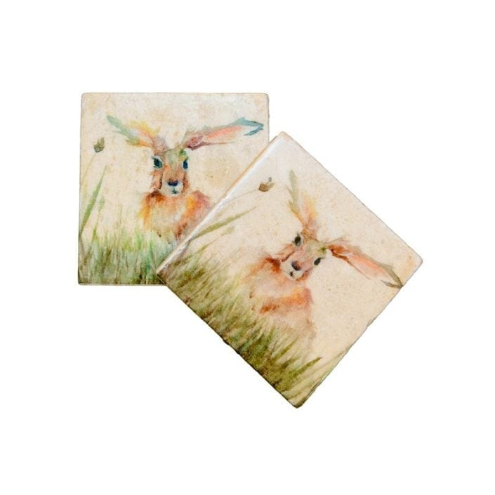 Kate of Kensington Family Hares Pair of Coasters
