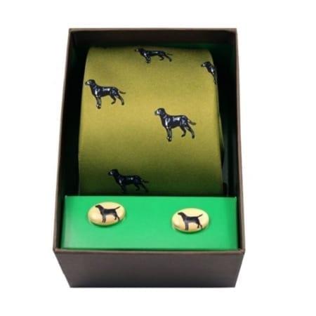 Soprano Labrador Woven Silk Tie & Cufflinks Set Gift Box