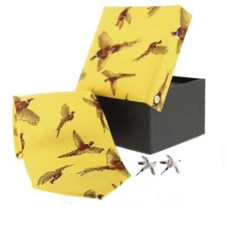 Soprano Pheasants Woven Silk Tie & Cufflink Set Gift Box