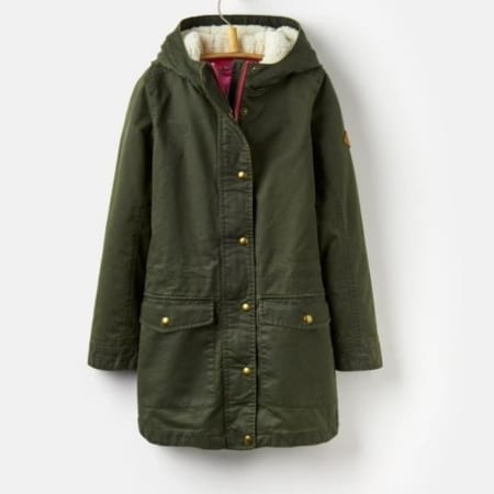 Joules Junior Clover Faux Wax Parka Coat