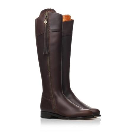 Fairfax & Favor Spanish Unlined Regina Flat Mahogany Leather Boot