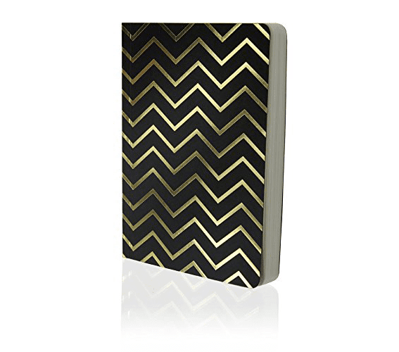 Go Shimmer Notebook A6 Black and Gold Chevron