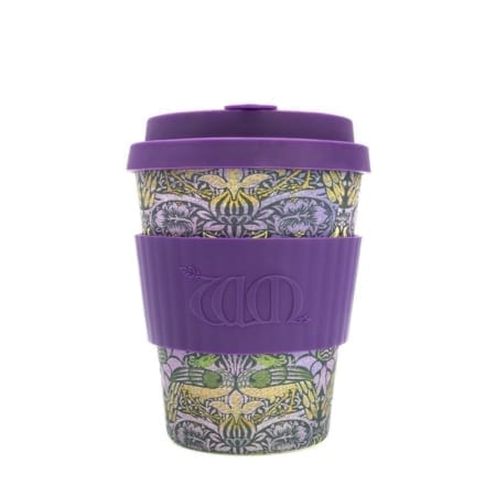 Ecoffee Cup, 12oz - Environmentally friendly coffee cup - William Morris Peacock design - Wadswick