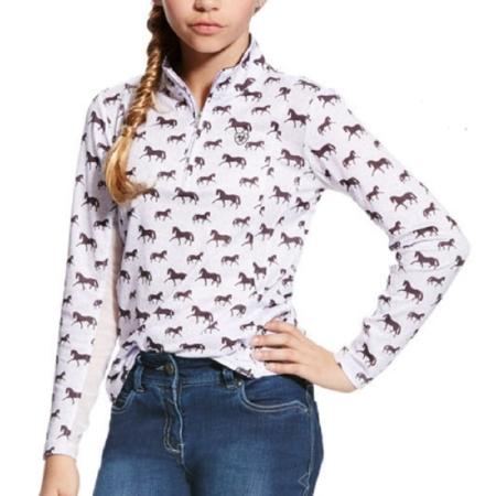 Ariat New Sunstopper Top, Girls-Lavender Mist Horse