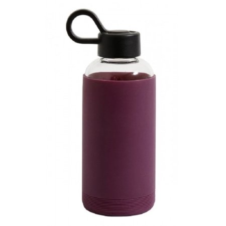 Glass Bottle with Silicone Sleeve in Dark Purple - Wadswick