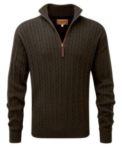 Schoffel Cashmere Cotton 1/4 Zip Cable Jumper, Loden Green