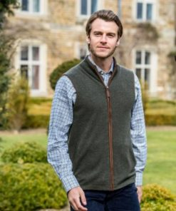 Schoffel Reversible Merino-Cashmere Gilet Navy/Loden - Schoffel gilet - Schoffel Cashmere Gilet - Wadswick Country Store