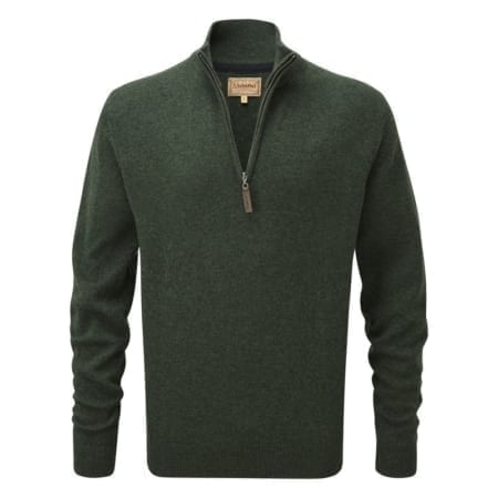 Schoffel Lambswool 1/4 Zip Jumper, Forest