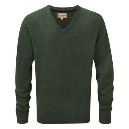Schoffel Lambswool V Neck Jumper, Forest