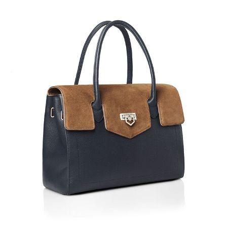 Fairfax & Favor Loxley Shoulder Bag Navy & Tan