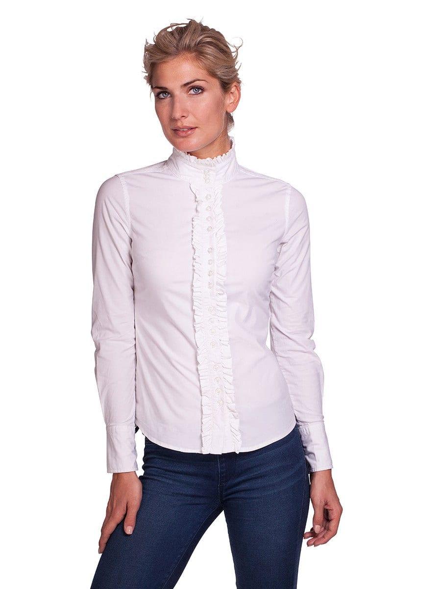 Dubarry womens white ruffle stretch shirt chamomile