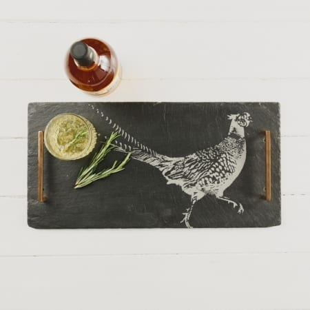 Just Slate Pheasant Serving Tray With Copper Handles, Pheasant
