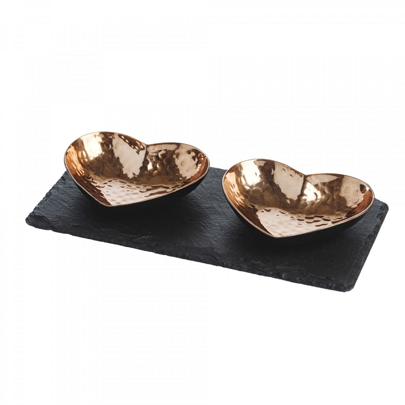 Just Slate Company Heart Copper Serving Set