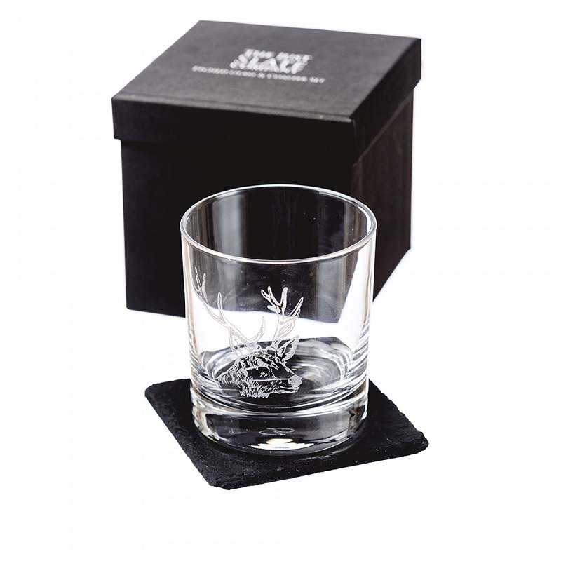 Just Slate Company Stag Engraved Glass Tumbler with Slate Coaster Set