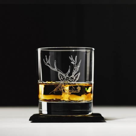 Just Slate Stag Engraved Glass Tumbler with Slate Coaster Set