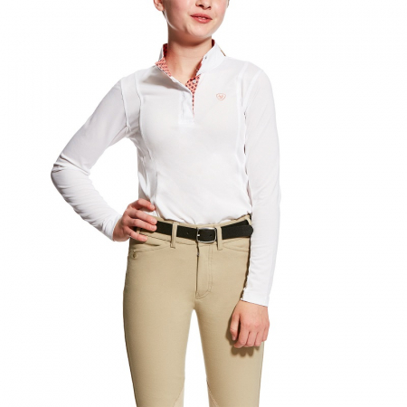 Ariat Sunstopper Show Top, Girls-White With Trim