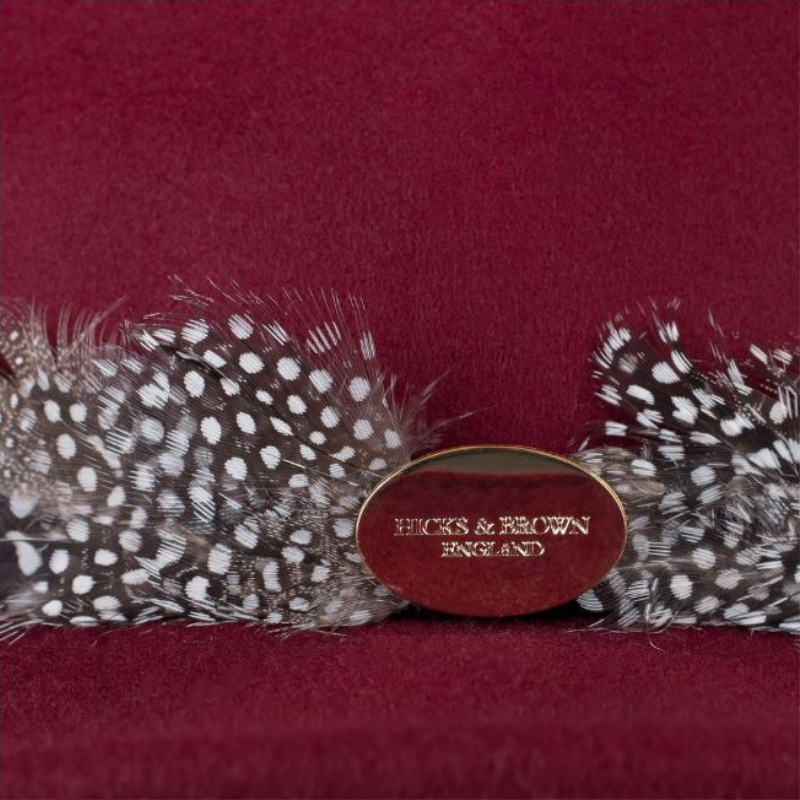 b3318af631c Hicks   Brown Suffolk Fedora Maroon Guinea Feather 2 Image