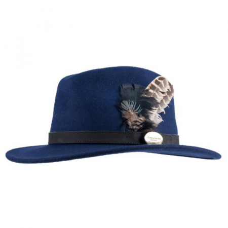 Hicks & Brown Suffolk Fedora Navy Black Hen Feather 1