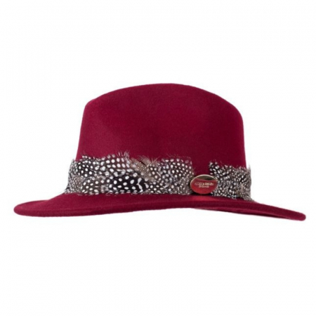 Hicks & Brown Suffolk Fedora Maroon Guinea Feather 1 Image
