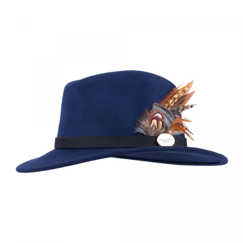 Hicks & Brown Suffolk Fedora Ladies Hat, Navy Gamebird