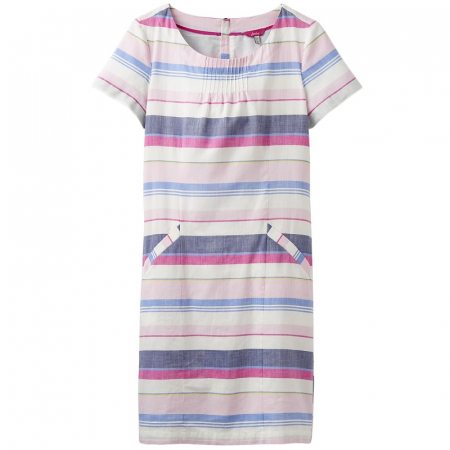 Joules Henrietta Linen Dress in Blue Stripe