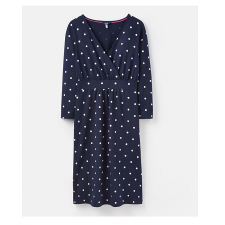 Joules Jude Wrap 3/4 Sleeve Dress, Navy Spot