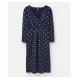 Joules Jude Wrap 3/4 Sleeve Dress, Navy Spot