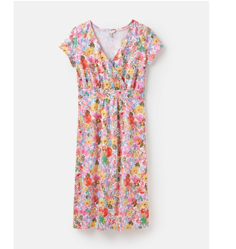 Joules Jude Short Sleeve Wrap Dress in White Floral Meadow