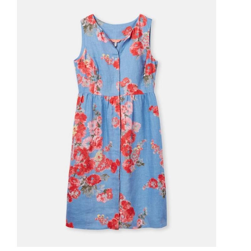 Joules Lisia Linen Dress, Blue Floral
