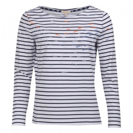 Barbour Seaward Top, White/Navy