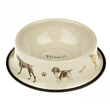 Orchid Tinware Dog Bowl- Please