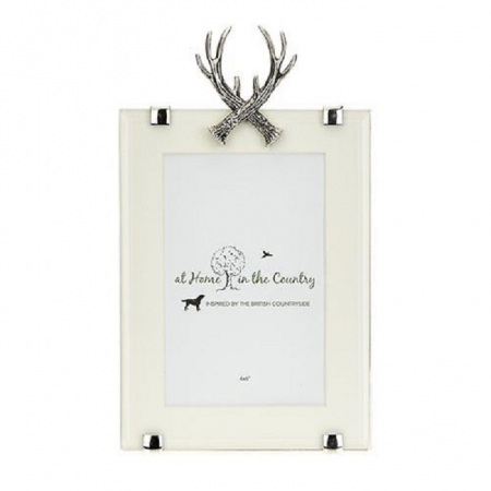 Orchid Designs Photoframe with Crossed Antlers