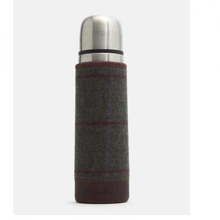Joules Tweed Picnic Thermos Flask, Green Blue Collection