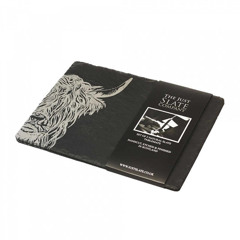 2 Slate Highland Cow Place Mats