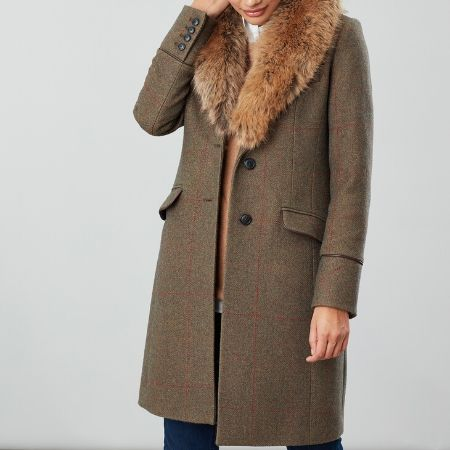 Joules Langley Coat Green Tweed with Collar