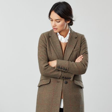 Joules Langley Coat Green Tweed without Collar