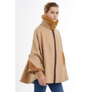 Holland Cooper Chiltern Zip Collar Tweed Cape Camel model